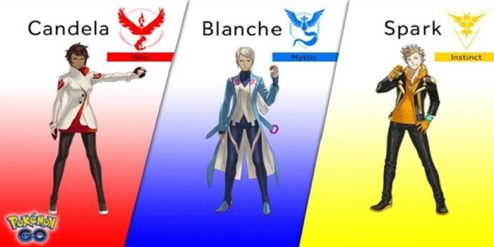 Valor, Mystic and Instinct and team leaders